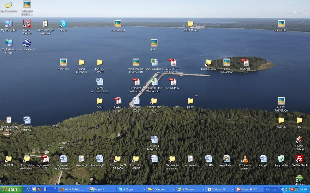 Hõivatud tüürimehe desktop