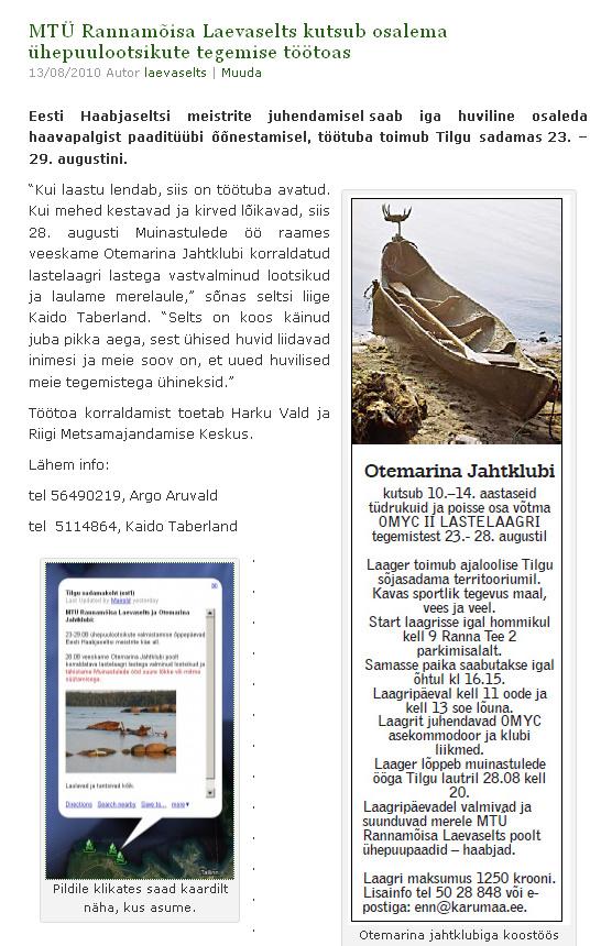 Rannamõisa Laevaseltsi kroonika - augustiteade 2010