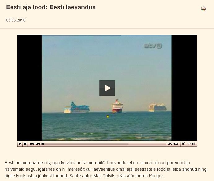 Eesti aja lood: Eesti laevandus.  Arhiiv  ETV2  ERR