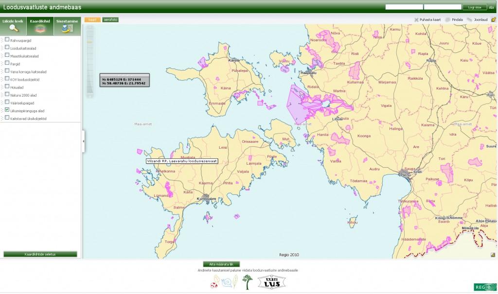 Loodusvaatluste andmebaasi kaardirakendus