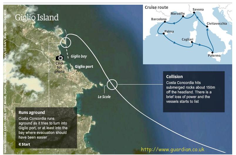 Costa Concordia's route - interactive