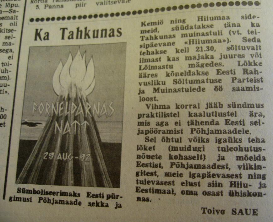 Ajalehe HIIUMAA repro aastast 1992