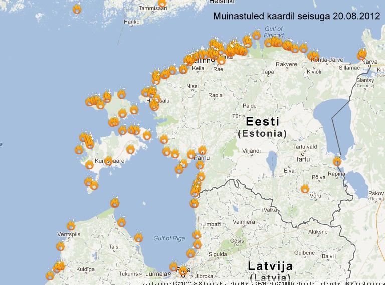 Kaart Muinastuled.ee seisuga 20.08.2012