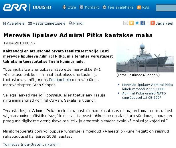 Mereväe lipulaev Admiral Pitka kantakse maha